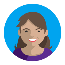 Avatar of female with brown hair and red lipstick wearing purple shirt against blue background