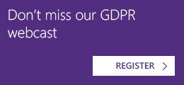 Don't miss our GDPR webcast