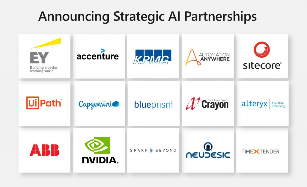 Logos of the 15 strategic AI partnerships from Inspire
