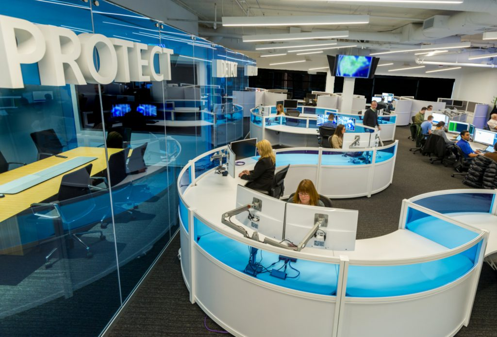 People working in Microsoft Cybersecurity Operations Center