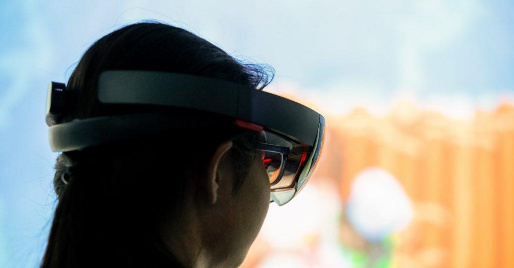 Woman using virtual headset