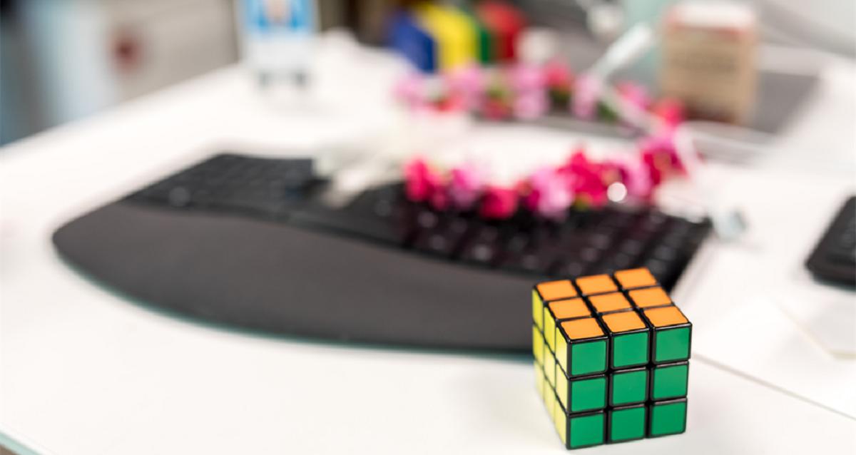 Rubik's cube on desk