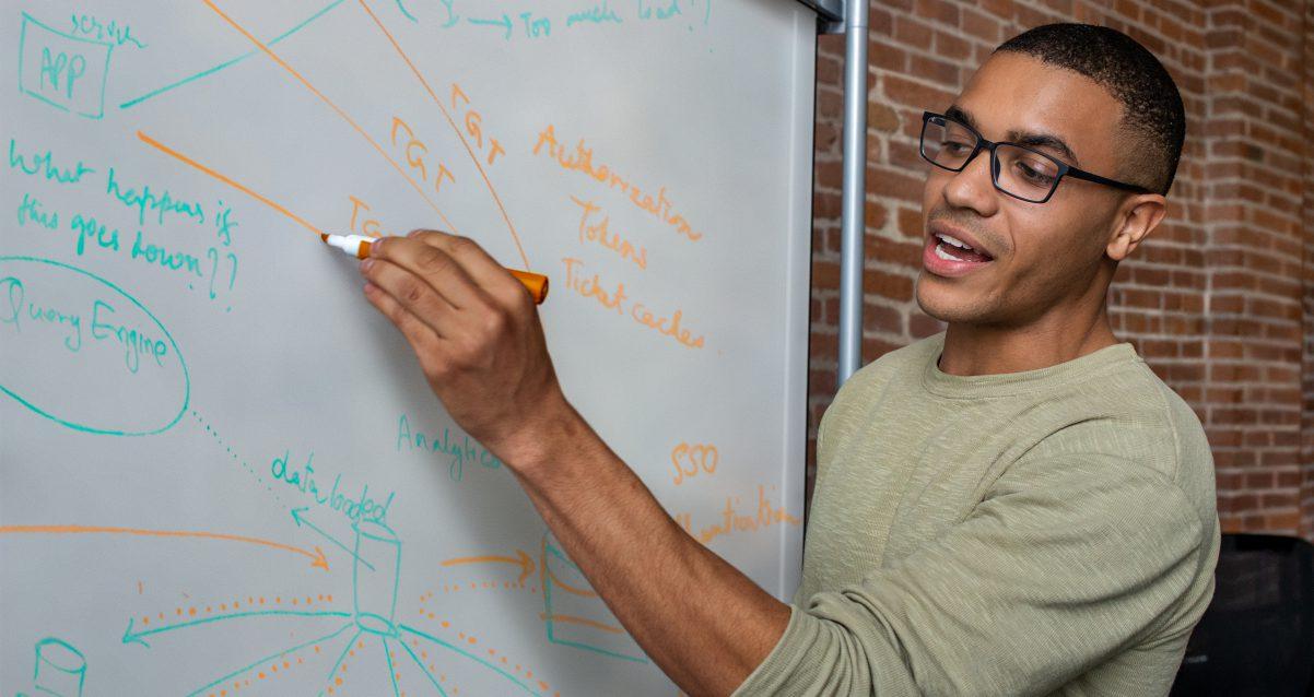 Man at white board