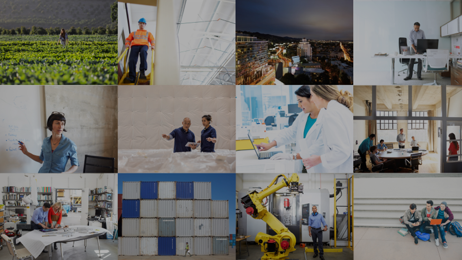 Montage of images of people working in various industries